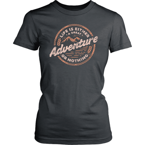 Image of Life Is A Great Adventure T-shirt District Womens Shirt Charcoal XS