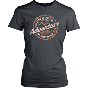 Life Is A Great Adventure T-shirt District Womens Shirt Charcoal XS