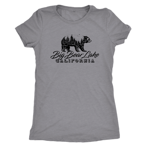 Image of Big Bear Lake California V.2, Womens, Black T-shirt Next Level Womens Triblend Heather Grey S