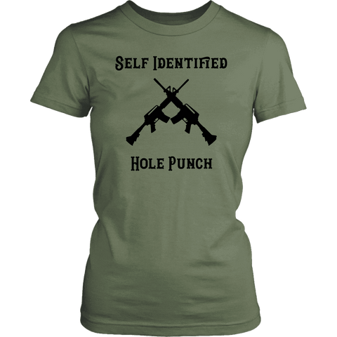 Image of Self Identified Hole Punch T-shirt District Womens Shirt Fresh Fatigue XS