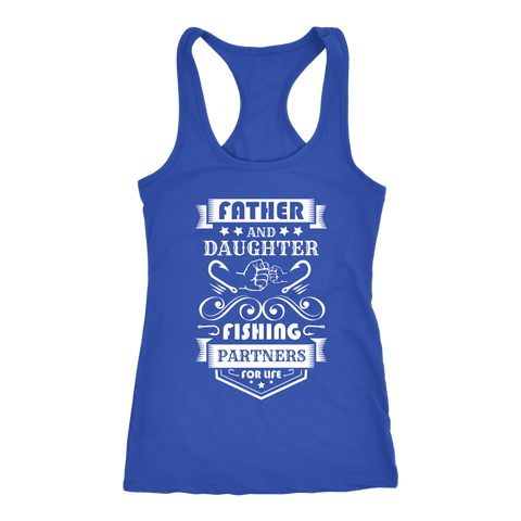 Image of Father and Daughter Fishing Partners T-shirt Next Level Racerback Tank Royal XS