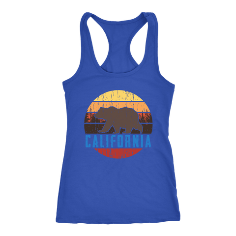 Image of Big Bear California Shirt V.1, Womens Shirts T-shirt Next Level Racerback Tank Royal XS
