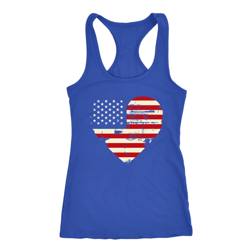 Love America Racerback Tank, Blue T-shirt Next Level Racerback Tank Royal XS