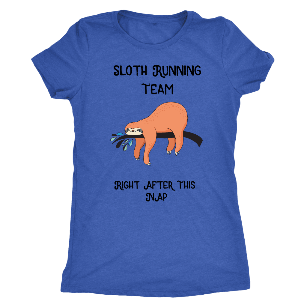 Sloth Running Team T-shirt Next Level Womens Triblend Vintage Royal S
