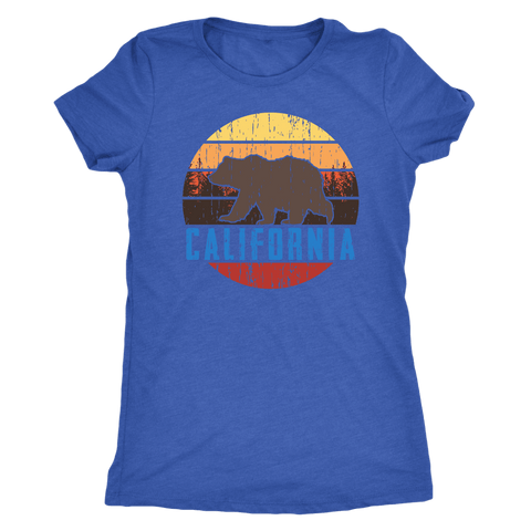 Image of Big Bear California Shirt V.1, Womens Shirts T-shirt Next Level Womens Triblend Vintage Royal S