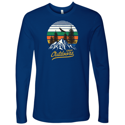 Image of Great Outdoors Shirts | Mens T-shirt Next Level Mens Long Sleeve Royal Blue S