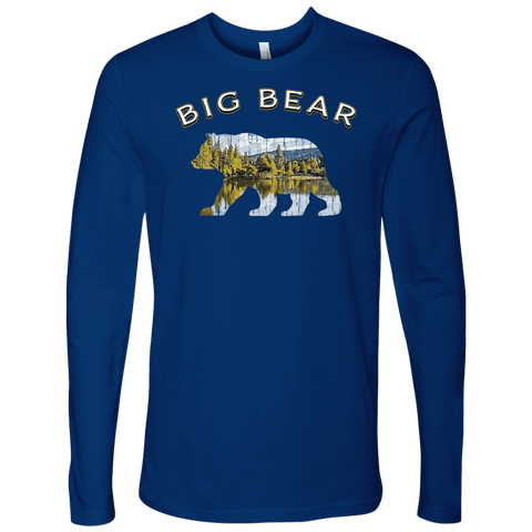Image of Big Bear V.1 Men's Shirts T-shirt Next Level Mens Long Sleeve Royal Blue S