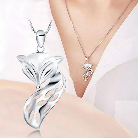 Solid 925 Silver Fox Pendant and Necklace Pendant Necklaces