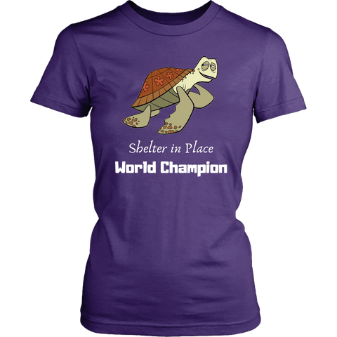 Image of Shelter In Place World Champion, White Print T-shirt District Womens Shirt Purple XS