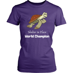 Shelter In Place World Champion, White Print T-shirt District Womens Shirt Purple XS