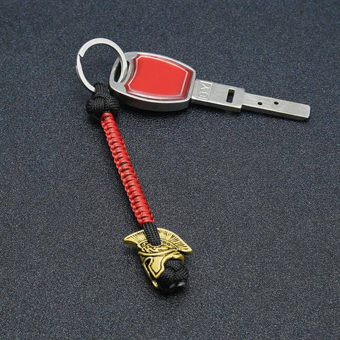 Spartan Lanyard Version 2, Are You a Warrior? Key Chains Black Red Brass