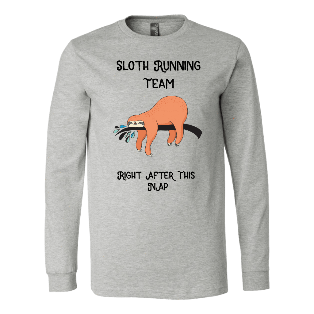 Sloth Running Team T-shirt Canvas Long Sleeve Shirt Athletic Heather S