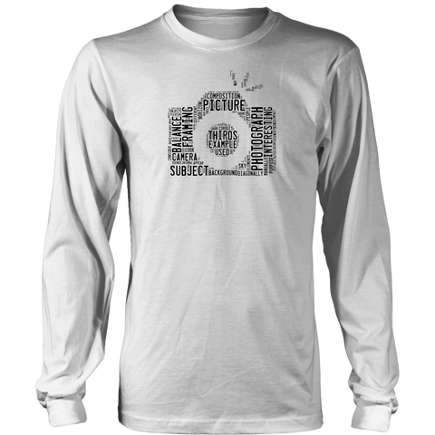 Awesome Word Camera Shirt T-shirt District Long Sleeve Shirt White S