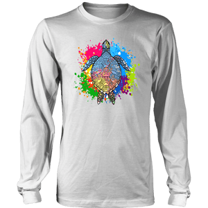 Vibrant Color Splash Sea Turtle T-shirt District Long Sleeve Shirt White S