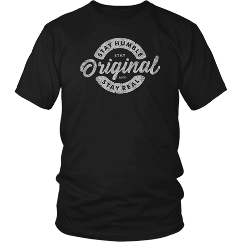 Image of Stay Real, Stay Original Mens Shirts T-shirt District Unisex Shirt Black S