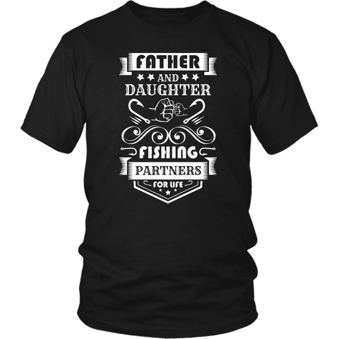 Image of Father and Daughter Fishing Partners T-shirt District Unisex Shirt Black S