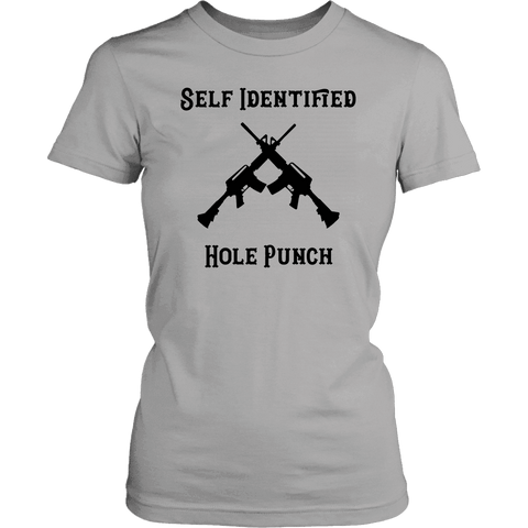 Self Identified Hole Punch T-shirt District Womens Shirt Silver XS