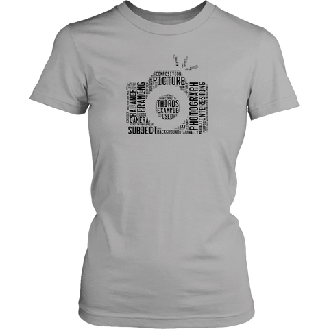 Awesome Word Camera Shirt T-shirt District Womens Shirt Silver XS
