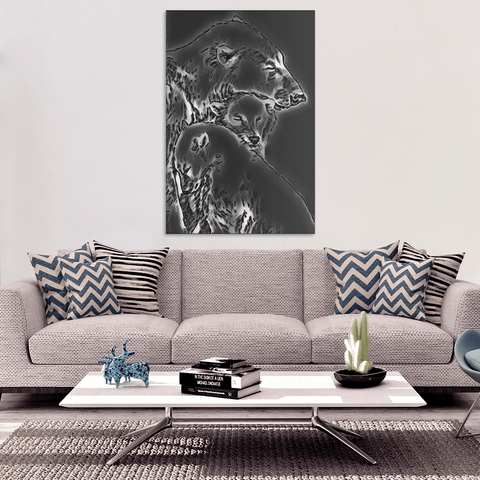 Image of Mother Polar Bear, Premium Wall Canvas
