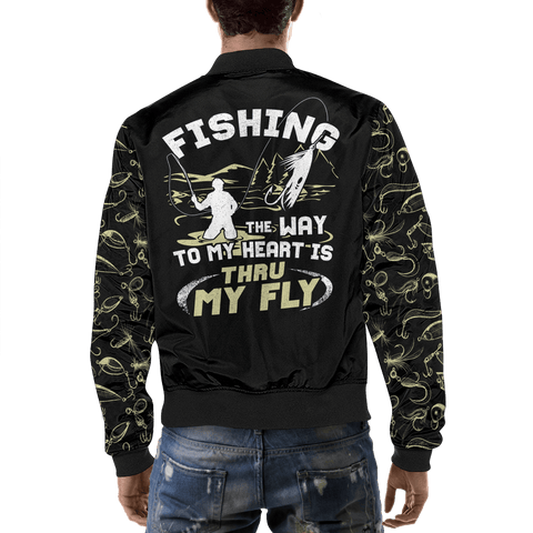 awesome gear for fly fishing this jacket is warm and lets people know the way to your heart love fishing back view