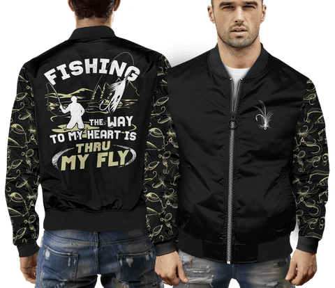 awesome gear for fly fishing this jacket is warm and lets people know the way to your heart love fishing front and back view