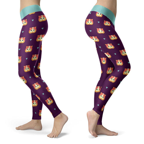 Purple Cat Leggings Leggings Purple Cat Leggings S