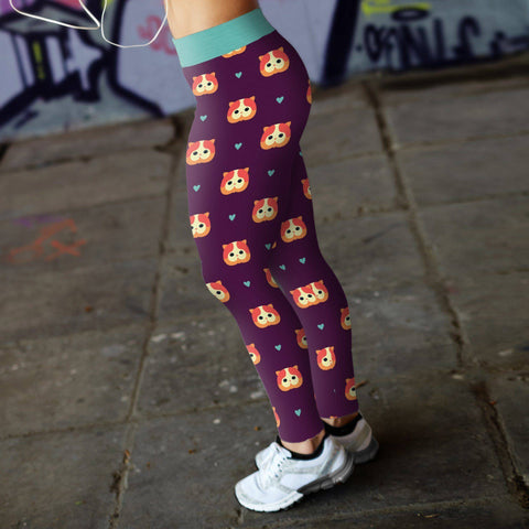 Purple Cat Leggings Leggings