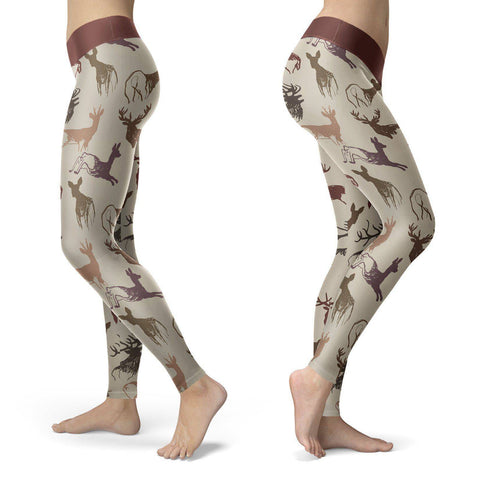 Image of Beige Deer Leggings Leggings Beige Deer Leggings S