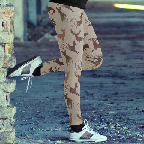 Image of Beige Deer Leggings Leggings