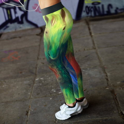 Image of Oil Painted Horse Leggings Leggings