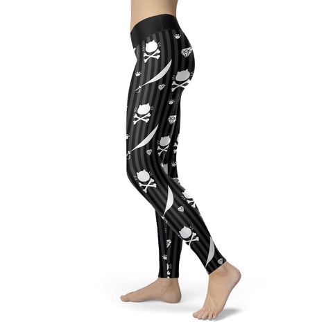 Cat Pirate Crossbones Leggings Leggings