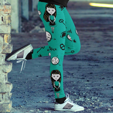 Image of Alice Girl with Clocks Teal Leggings Leggings