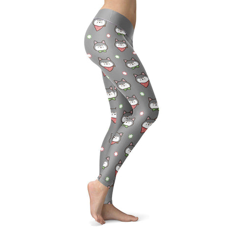Image of Shiba Inu Puppy Gray Leggings