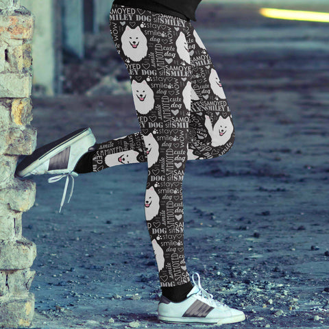 Image of Samoyed Smiley Dog Leggings Leggings
