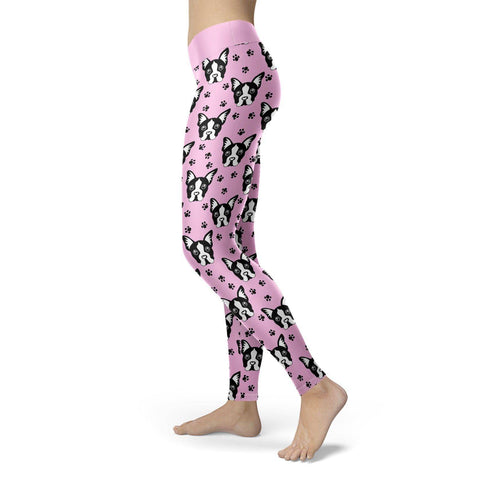 Image of Pug Puppy with Pink BG Leggings Leggings