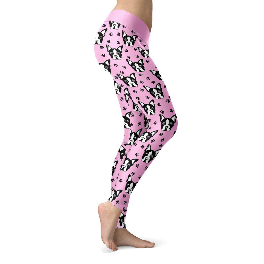 Pug Puppy with Pink BG Leggings Leggings