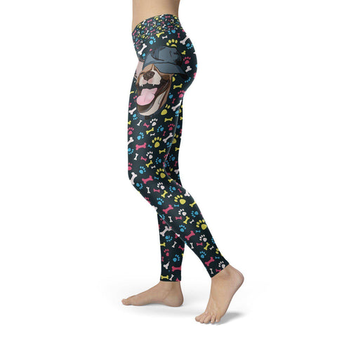 Image of Happy Dog with Hat Leggings Leggings Happy Dog with Hat Leggings S