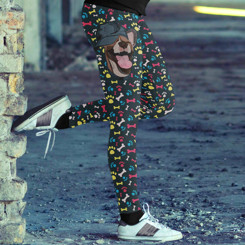 Image of Happy Dog with Hat Leggings Leggings