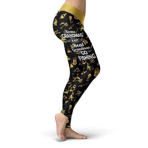 Image of Real Grandmas Go Fishing Leggings Real Grandmas Go Fishing Leggings S