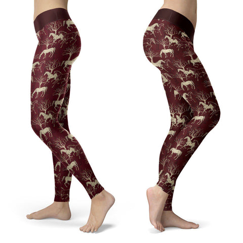 Premium Burgundy Horse Leggings Leggings S