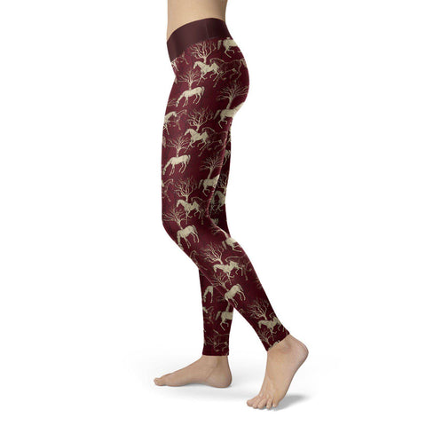 Premium Burgundy Horse Leggings Leggings