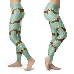 Dachshund Love Leggings Leggings Dachshund Love Leggings S