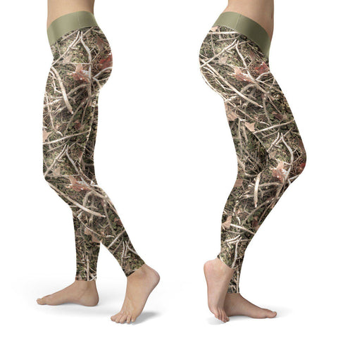 Image of Realistic Branches and Leaves Camo Leggings Leggings Realistic Branches and Leaves Camo Leggings S