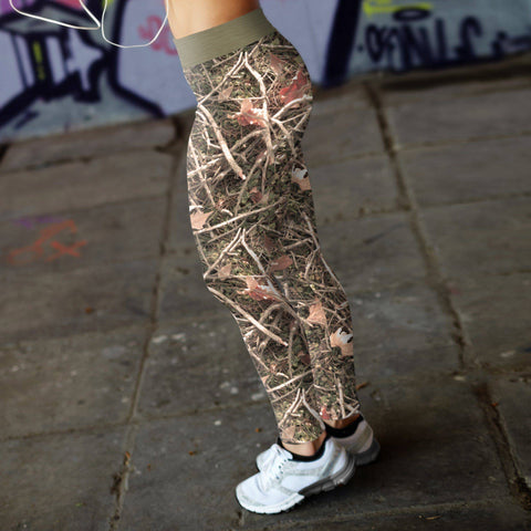 Image of Realistic Branches and Leaves Camo Leggings Leggings
