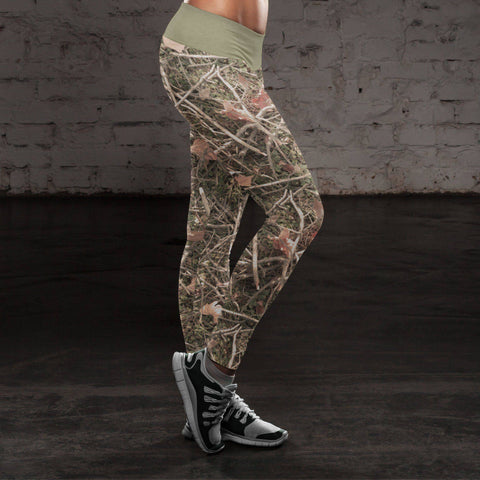 Realistic Branches and Leaves Camo Leggings Leggings