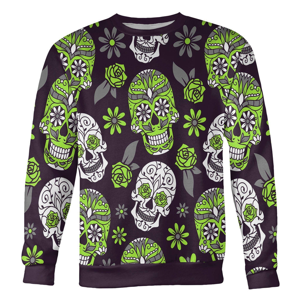 Light Green and Purple Sugar Skull Sweatshirt Sweatshirt Light Green and Purple Sugar Skull Sweatshirt S