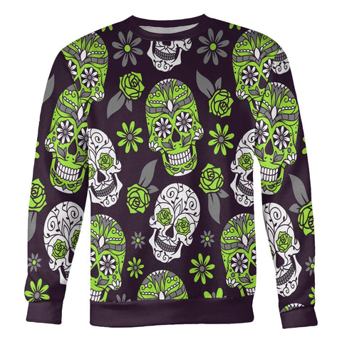 Image of Light Green and Purple Sugar Skull Sweatshirt Sweatshirt Light Green and Purple Sugar Skull Sweatshirt S