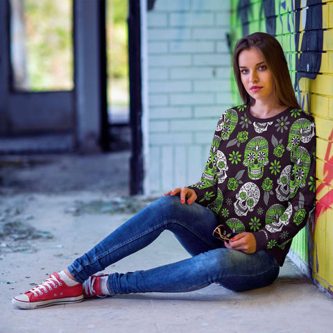 Image of Light Green and Purple Sugar Skull Sweatshirt Sweatshirt