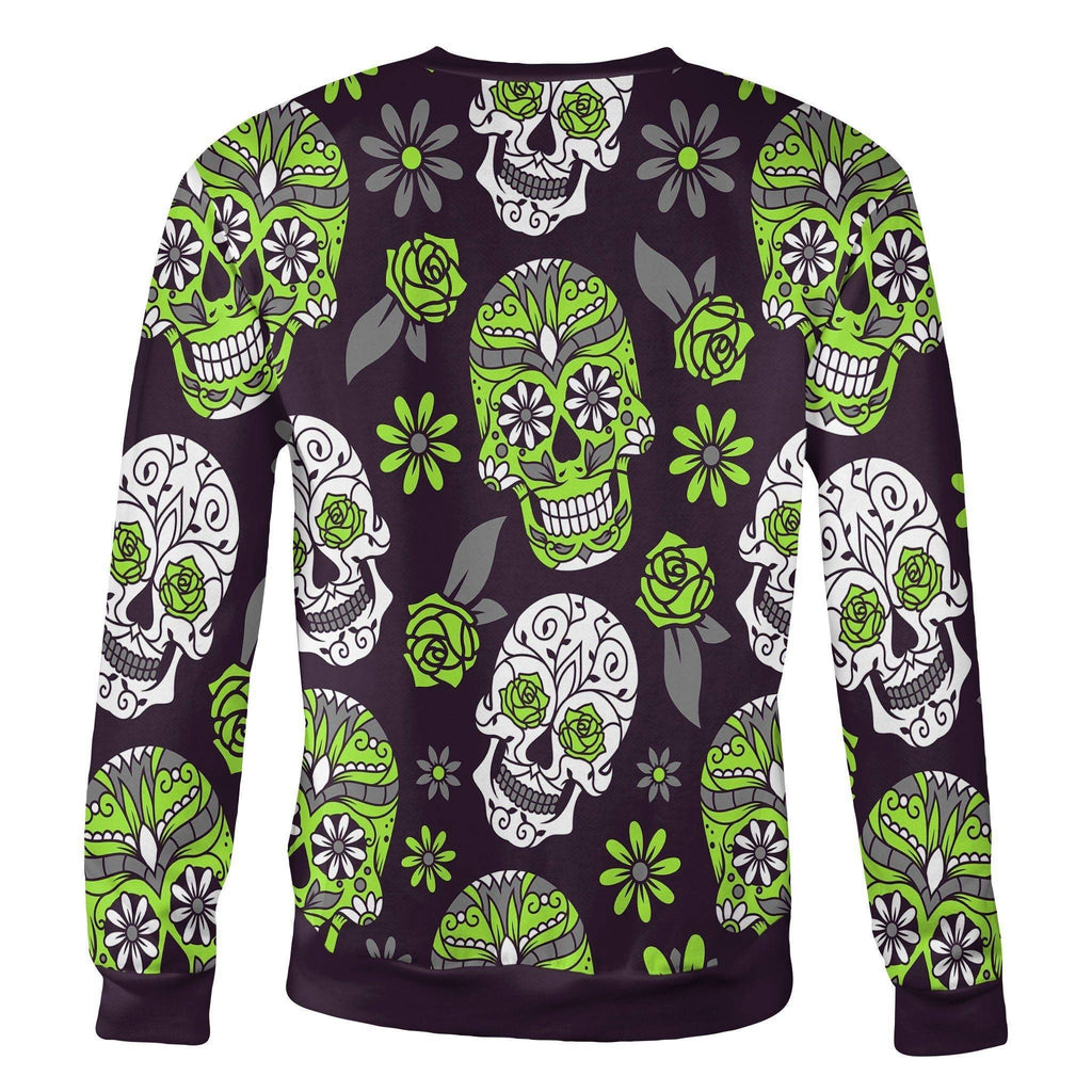 Light Green and Purple Sugar Skull Sweatshirt Sweatshirt