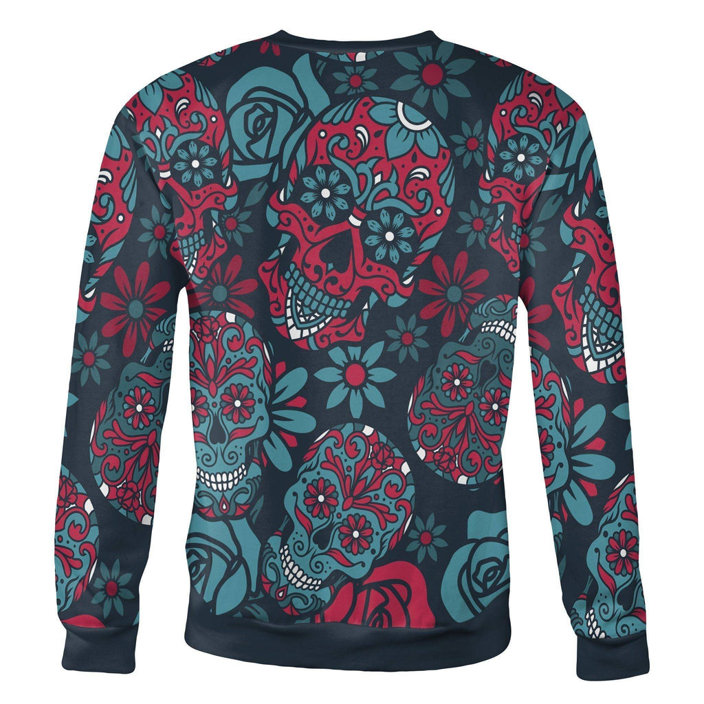 Blue and Red Sugar Skull Sweatshirt Sweatshirt